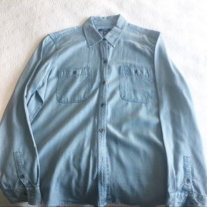 Chaps Ladies Chambray denim button down XL